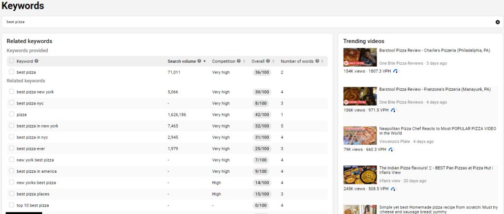 VidIQ keyword research tool
