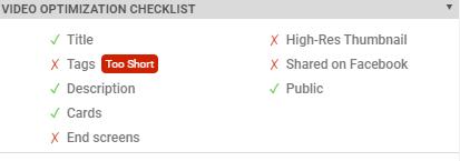 VidIQ video optimization checklist